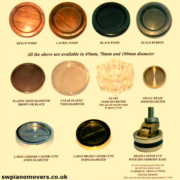 Range of plastic, wooden, metal and soundproofing piano castor cups